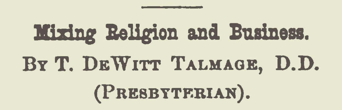 Talmage, Thomas De Witt, Mixing Religion and Business Title Page.jpg