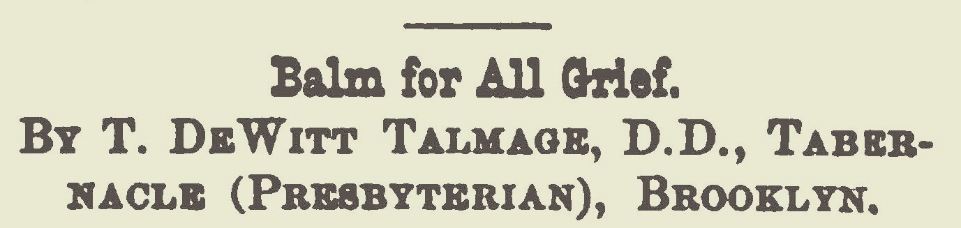 Talmage, Thomas De Witt, Balm For All Grief Title Page.jpg
