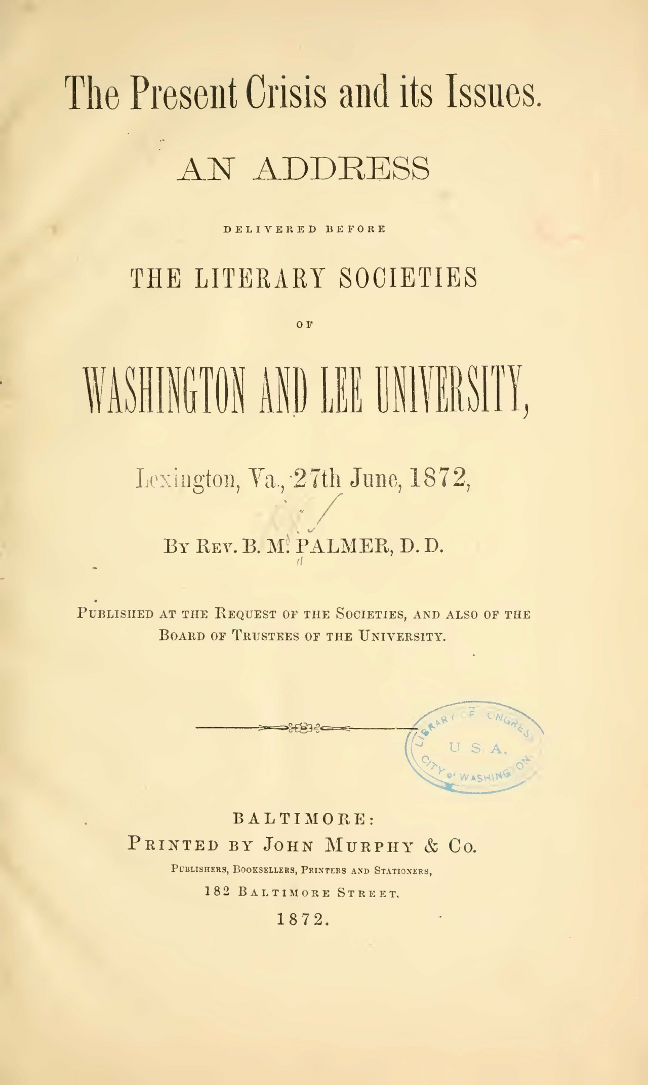 Palmer, Benjamin Morgan, The Present Crisis and Its Issues Title Page.jpg