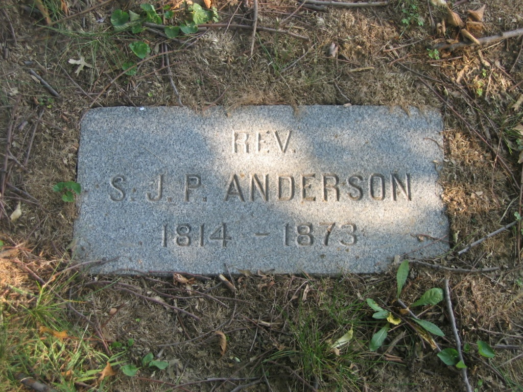 Samuel James Pierce Anderson is buried at Bellefontaine Cemetery, Saint Louis, Missouri.