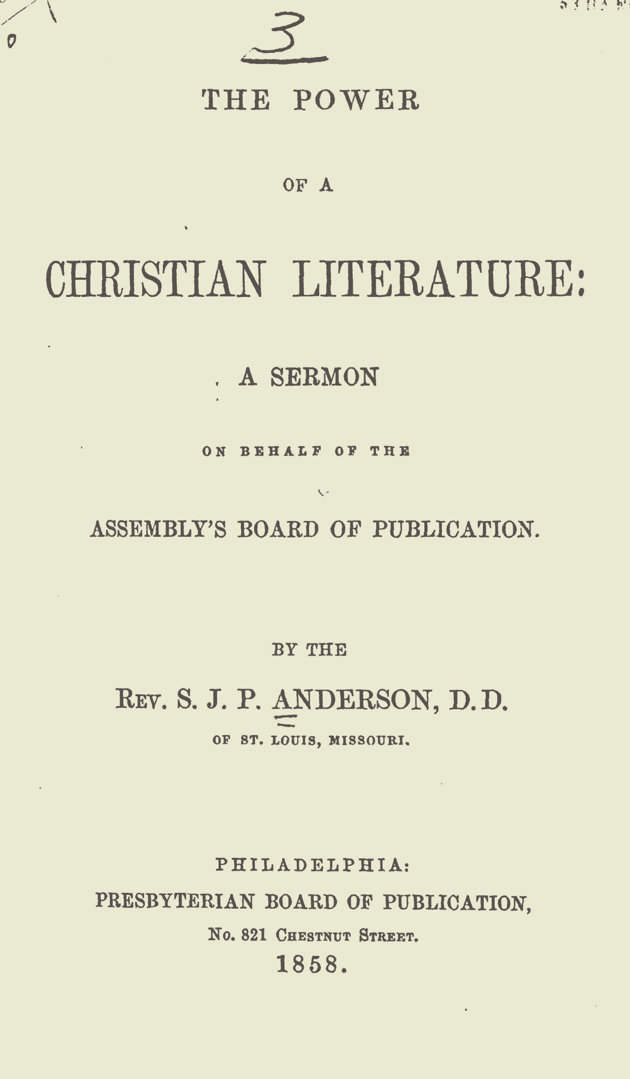 Anderson, Samuel James Pierce, The Power of a Christian Literature Title Page.jpg