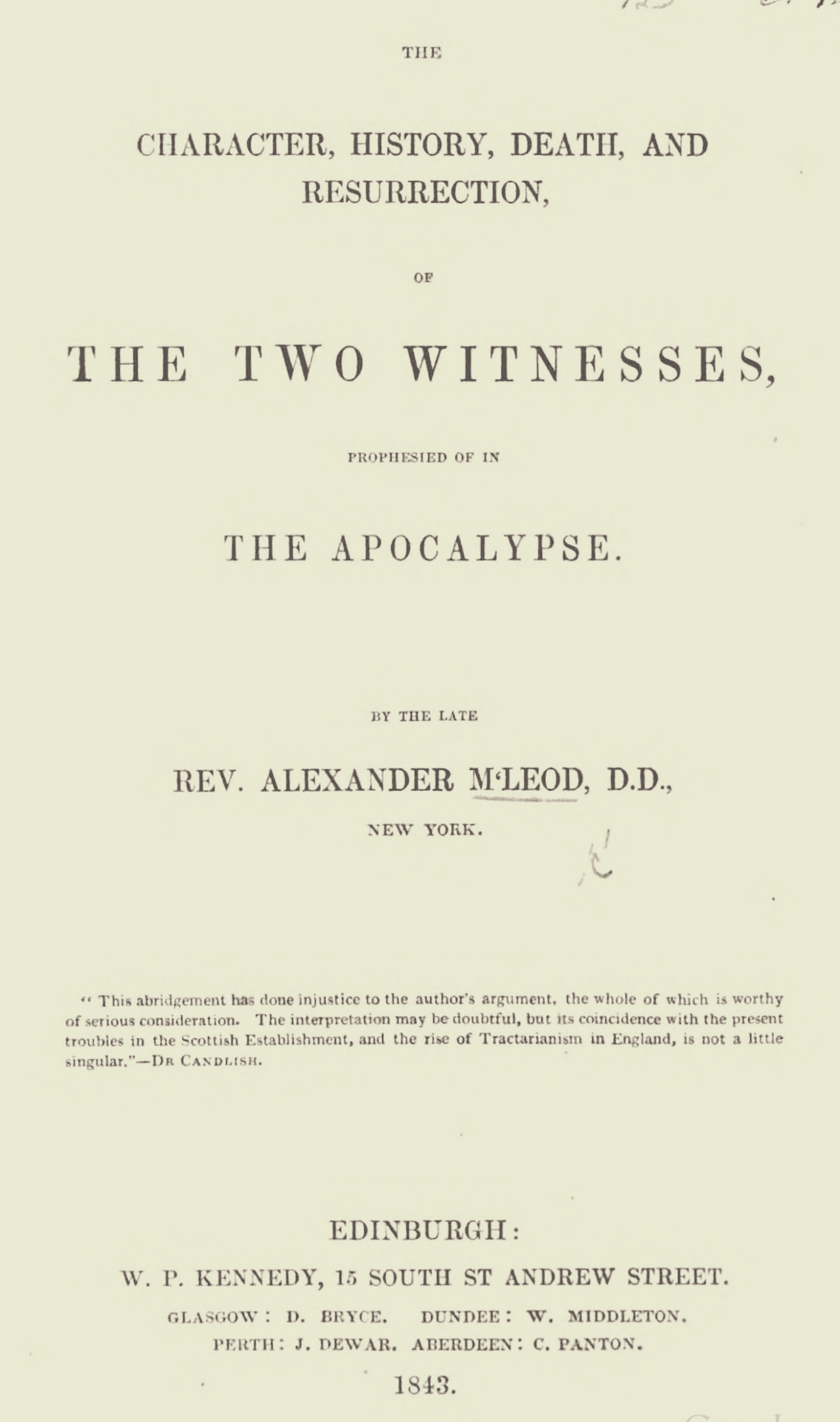 McLeod, Alexander, The Two Witnesses Title Page.jpg