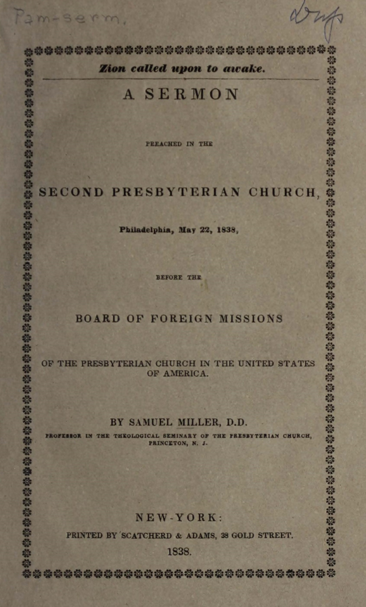 Miller, Samuel, Zion Called Upon to Awake Title Page.jpg