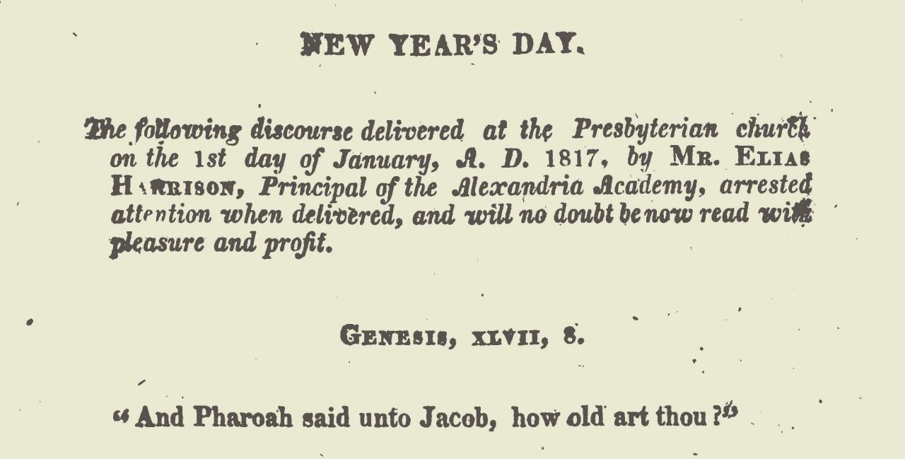 Harrison, Elias, New Year's Day Sermon Title Page.jpg