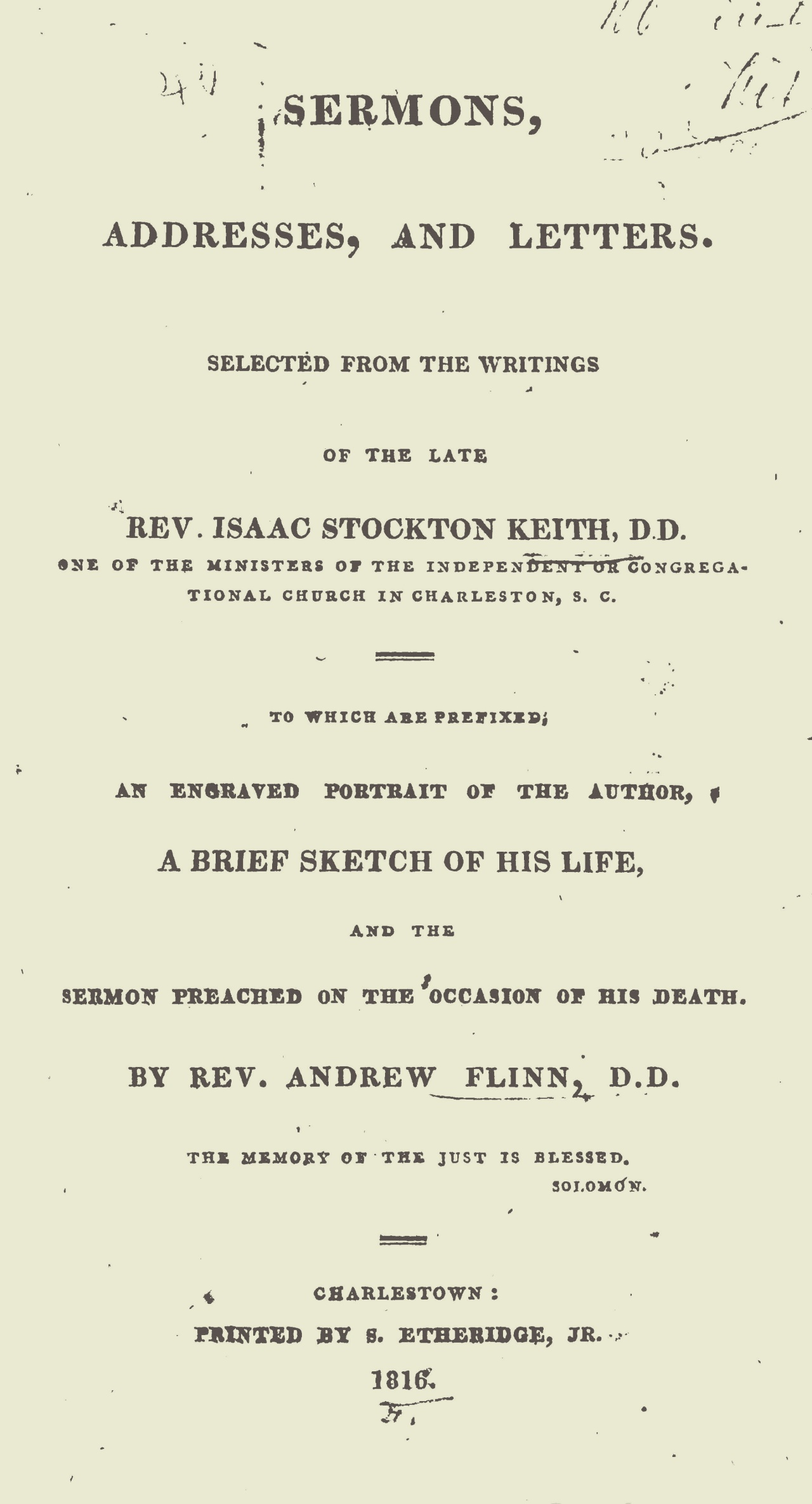 Keith, Isaac Stockton, Sermons, Addresses, and Letters Title Page.jpg