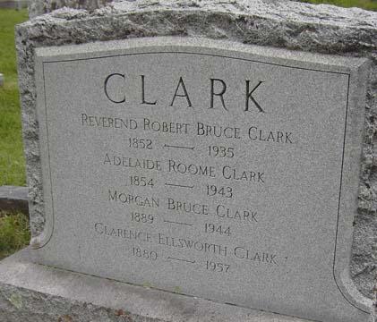 Robert Bruce Clark is buried at Slate Hill Cemetery, Goshen, New York.