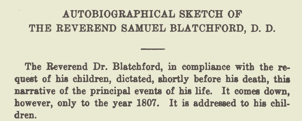 Blatchford, Samuel, Autobiography Title Page.jpg