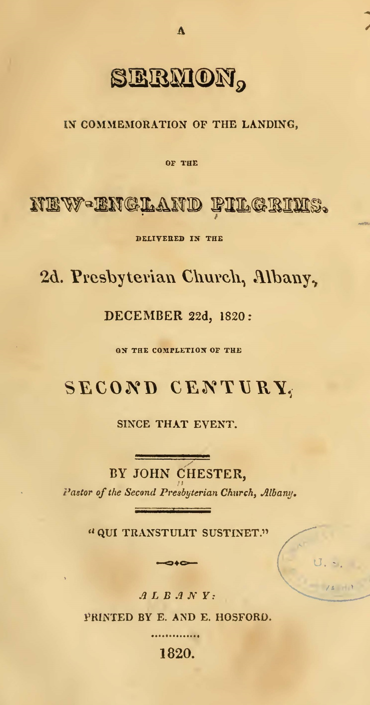 Chester, John, A Sermon in Commemoration of the Landing of the New-England Pilgrims Title Page.jpg