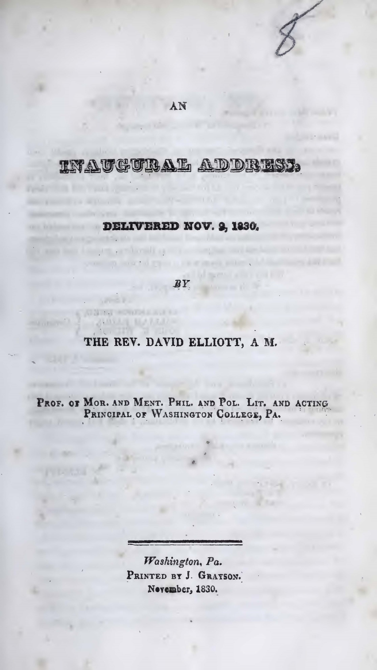 Elliott, David, An Inaugural Address Title Page.jpg
