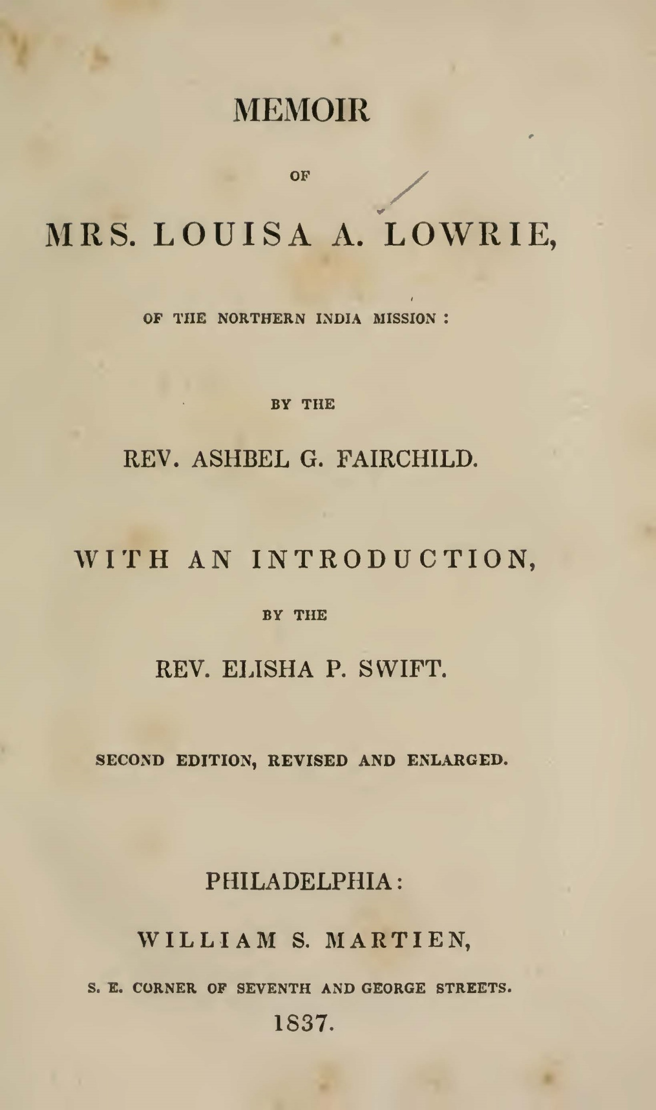 Fairchild, Ashbel Green, Memoir of Mrs. Louisa A. Lowrie Title Page.jpg