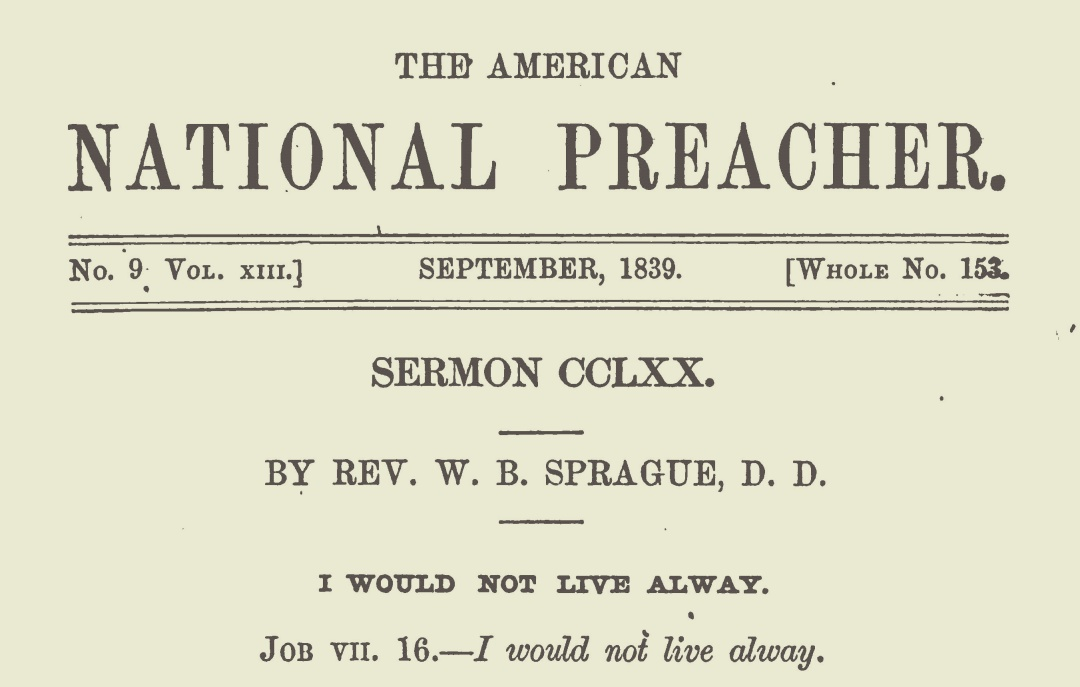 Sprague, William Buell, I Would Not Live Alway Title Page.jpg