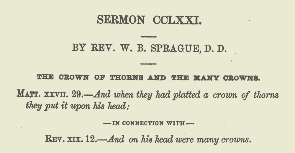 Sprague, William Buell, The Crown of Thorns and the Many Crowns Title Page.jpg