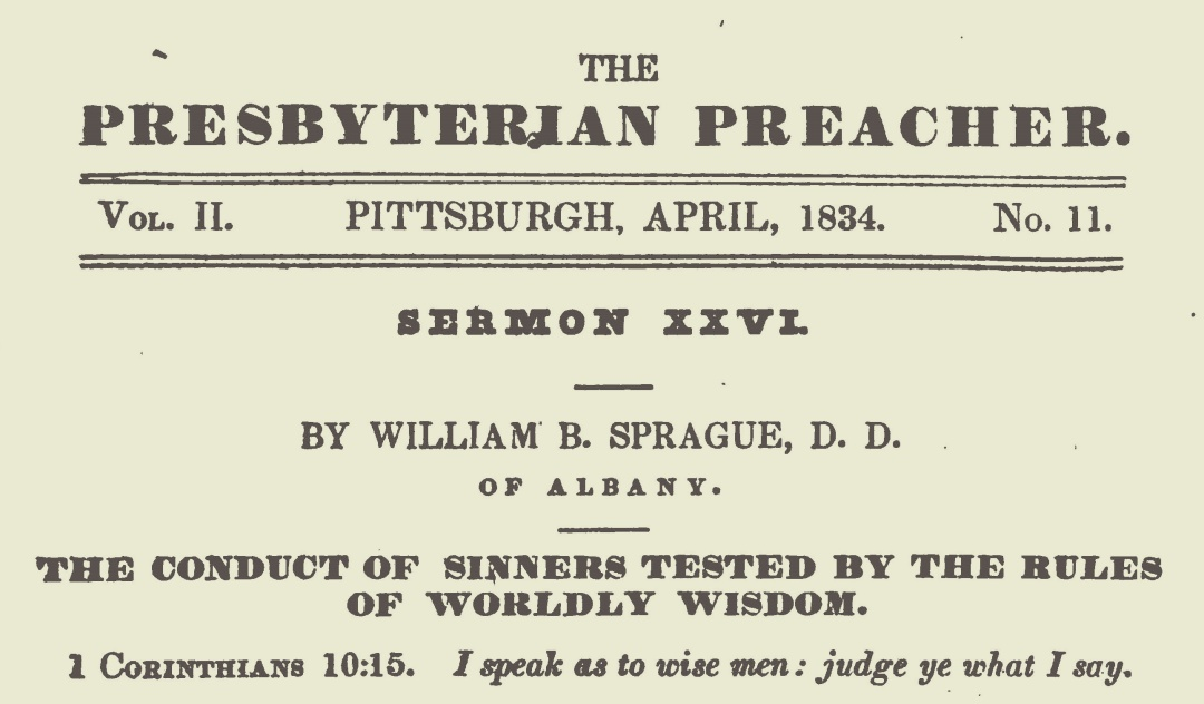 Sprague, William Buell, The Conduct of Sinners Tested by the Rules of Worldy Wisdom Title Page.jpg