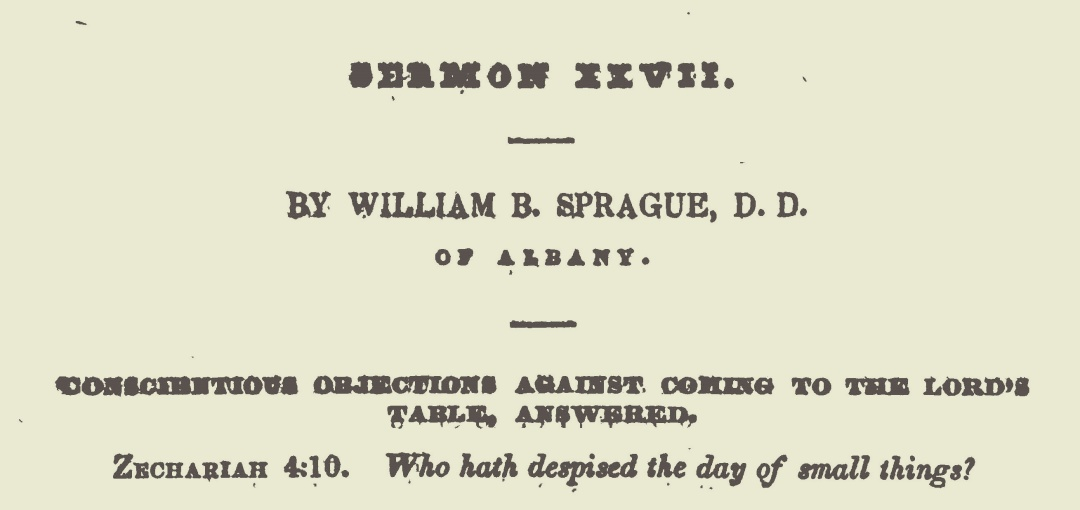 Sprague, William Buell, Conscientious Objections Against Coming to the Lord's Table Answered Title Page.jpg