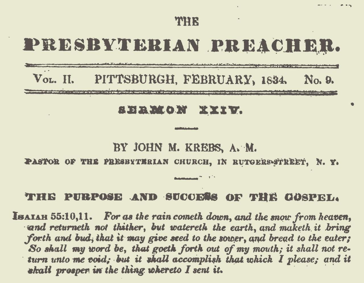 Krebs, John Michael, The Purpose and Success of the Gospel Title Page.jpg