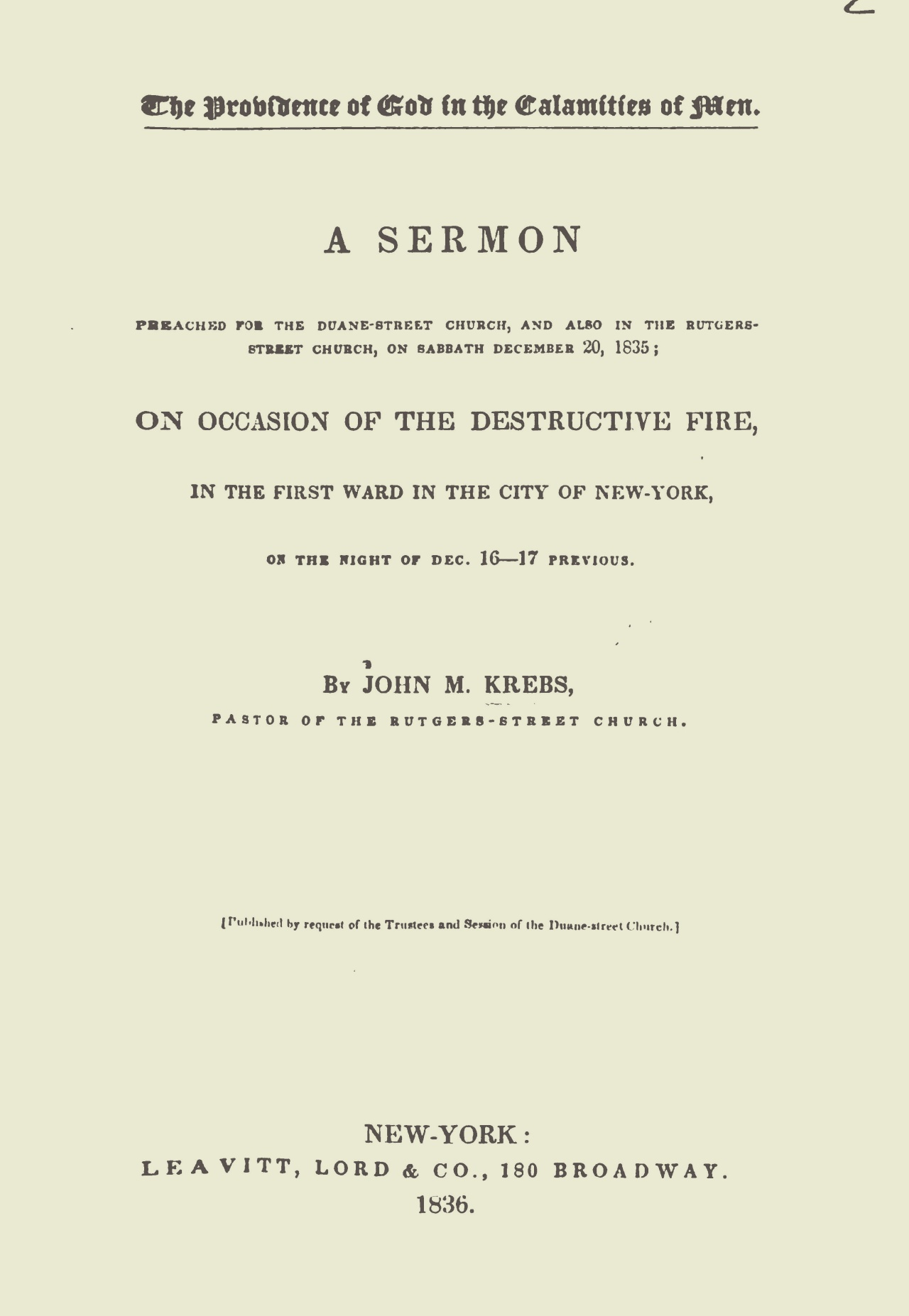 Krebs, John Michael, The Providence of God in the Calamities of Men Title Page.jpg