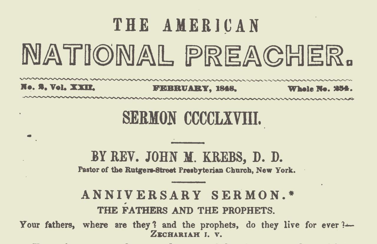 Krebs, John Michael, Anniversary Sermon Title Page.jpg