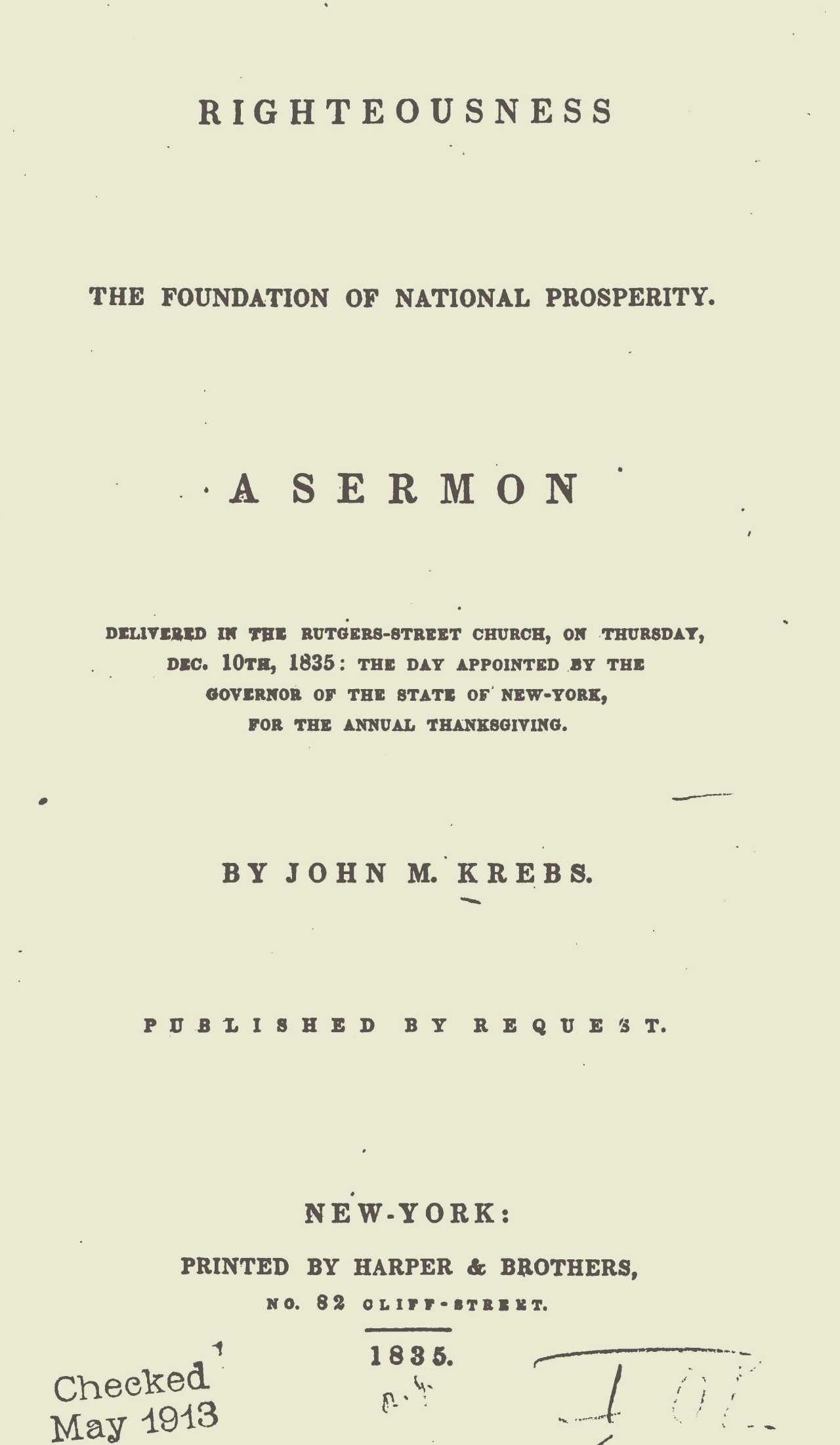 Krebs, John Michael, Righteousness the Foundation of National Prosperity Title Page.jpg