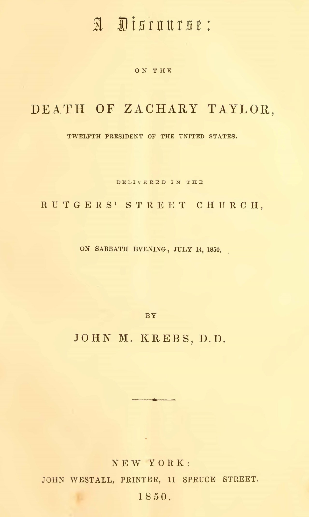 Krebs, John Michael, A Discourse on the Death of Zachary Taylor Title Page.jpg