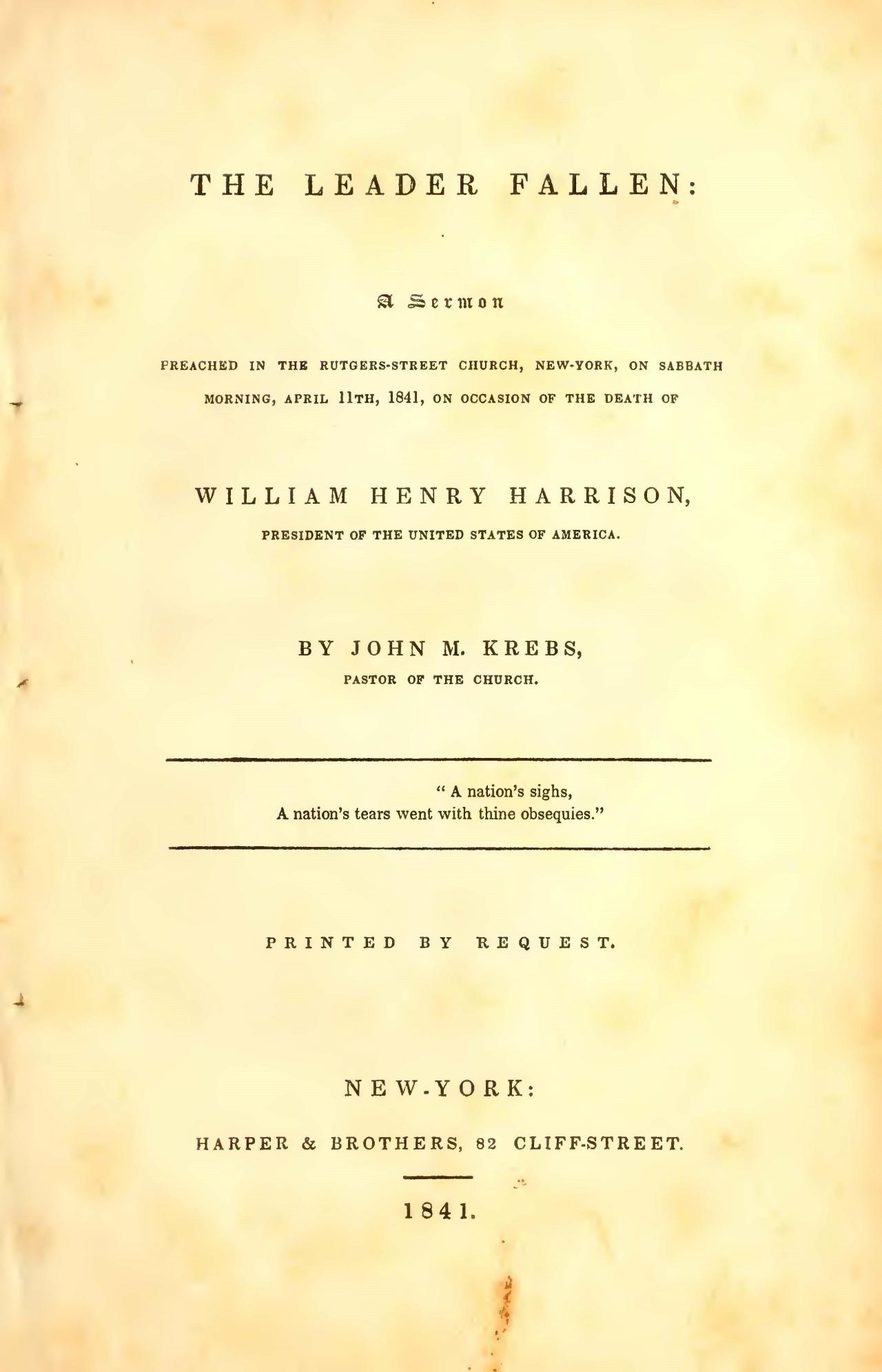 Krebs, John Michael, The Leader Fallen Title Page.jpg
