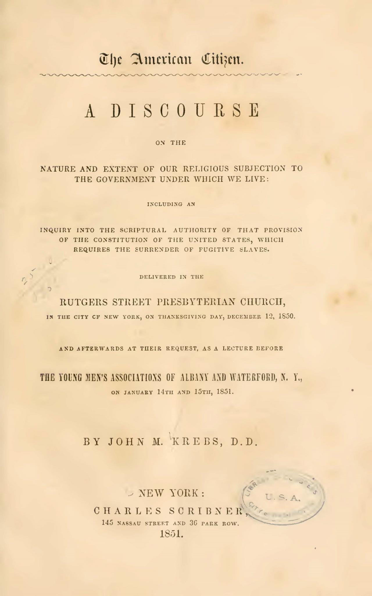 Krebs, John Michael, The American Citizen Title Page.jpg