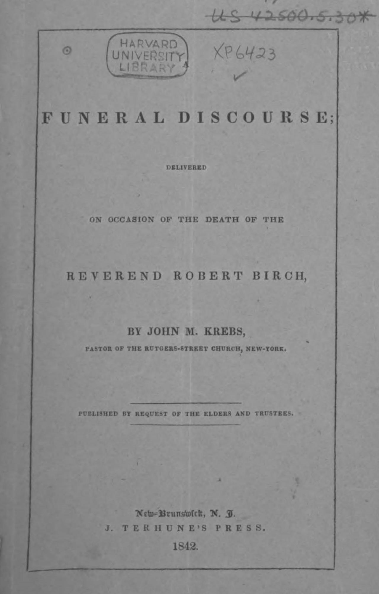 Krebs, John Michael, A Funeral Discourse for Robert Birch Title Page.jpg
