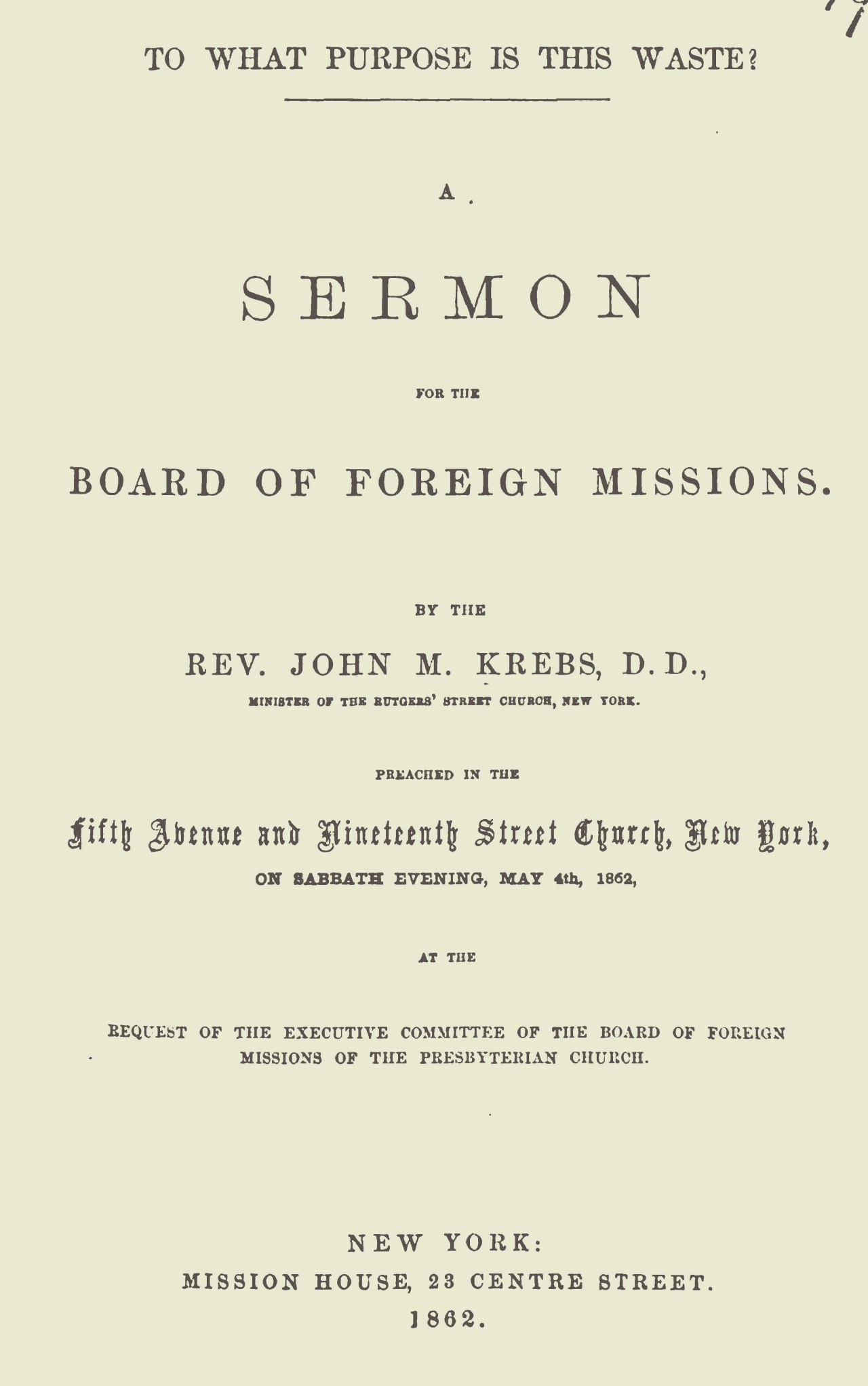 Krebs, John Michael, To What Purpose Is This Waste Title Page.jpg