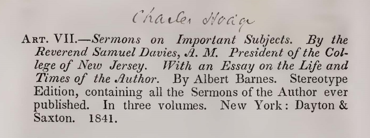 Hodge, Charles, The Theological Opinions of President Davies Title Page.jpg
