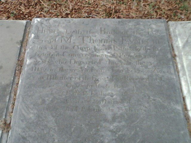 Thomas Evans is buried at Pencader Cemetery, Glasgow, Delaware.