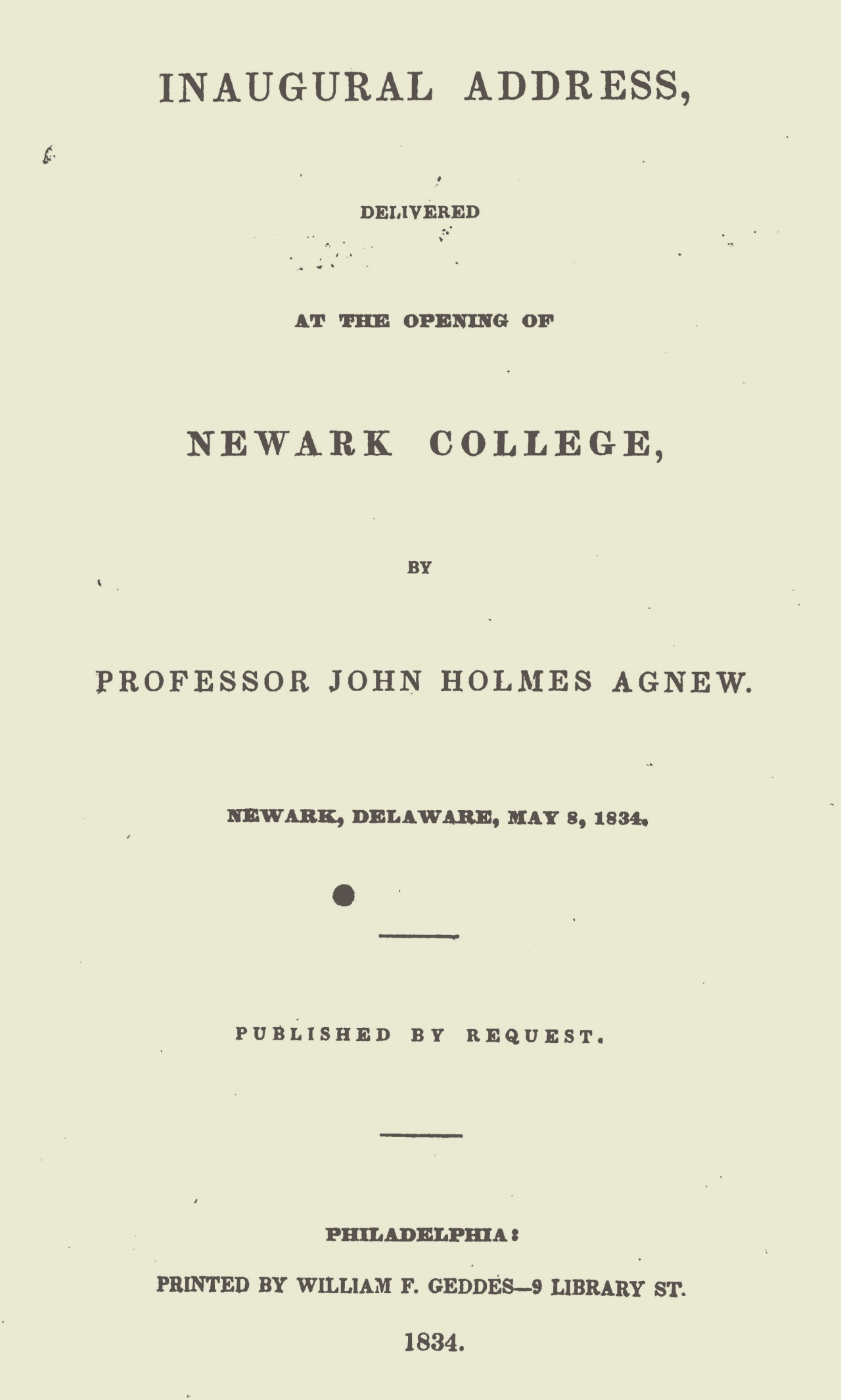 Agnew, John Holmes, Inaugural Address at Newark College Title Page.jpg