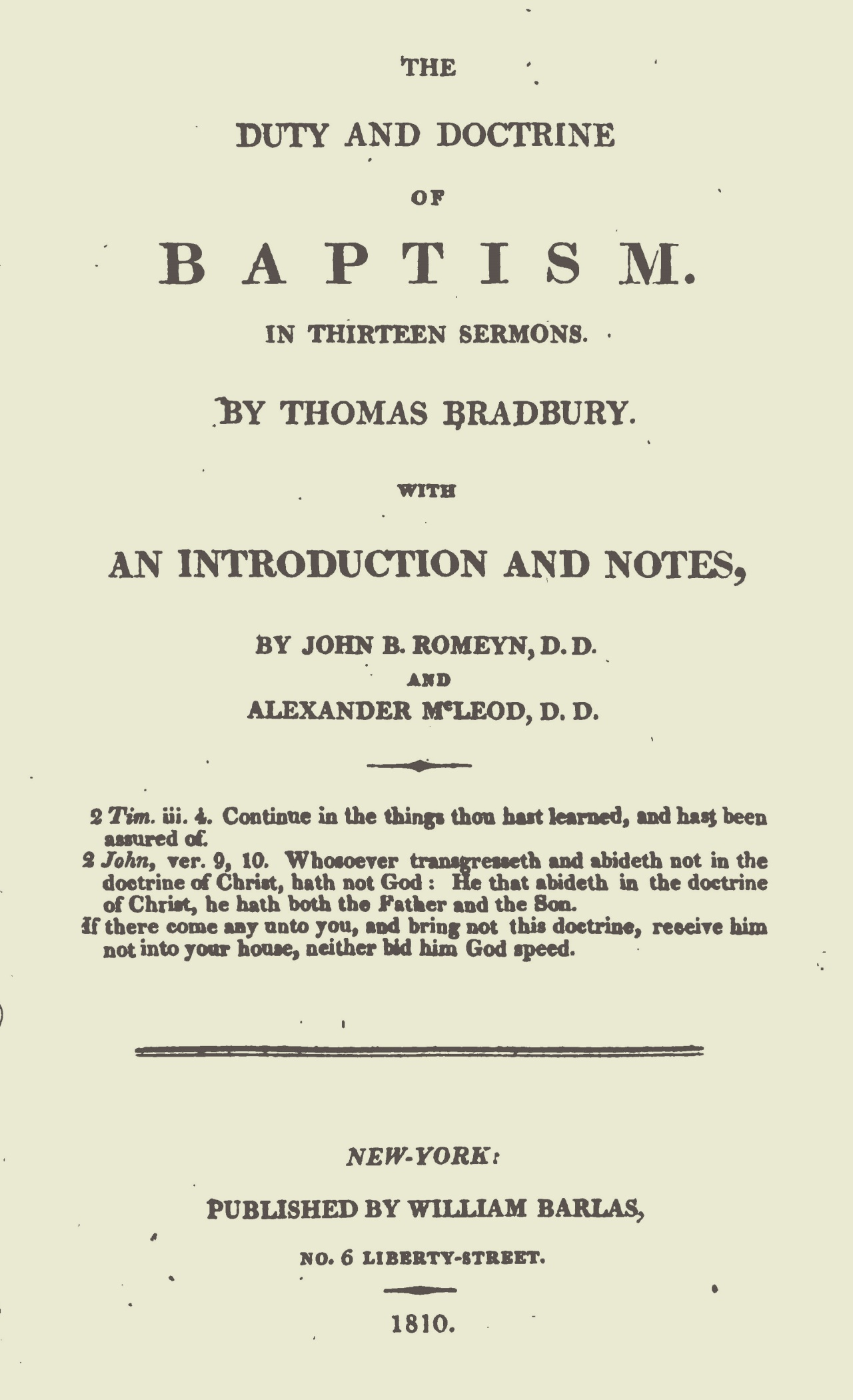 McLeod, Alexander, Introduction to Thomas Bradbury's The Duty and Doctrine of Baptism Title Page.jpg