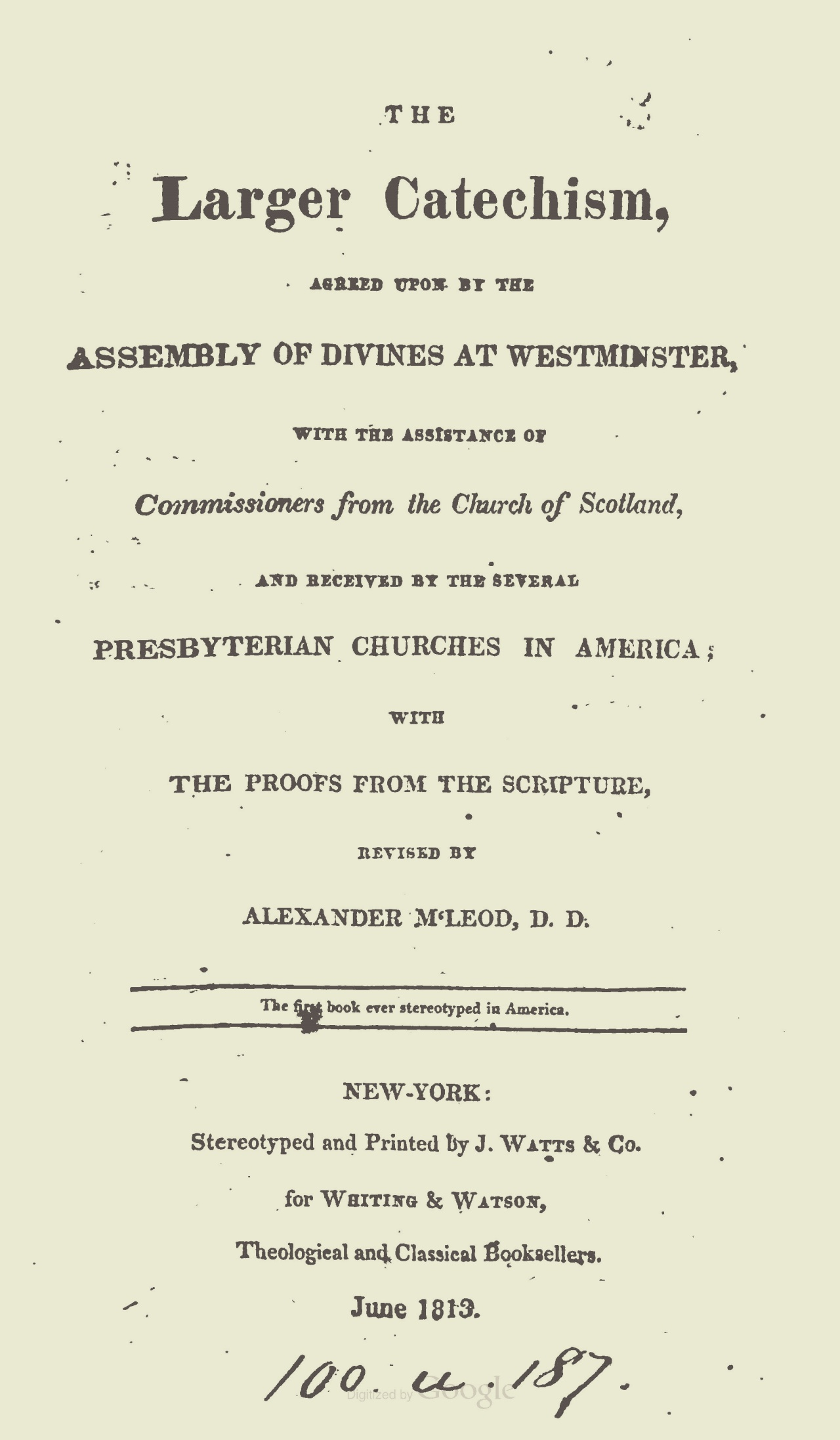 The first book published in stereotype in America.