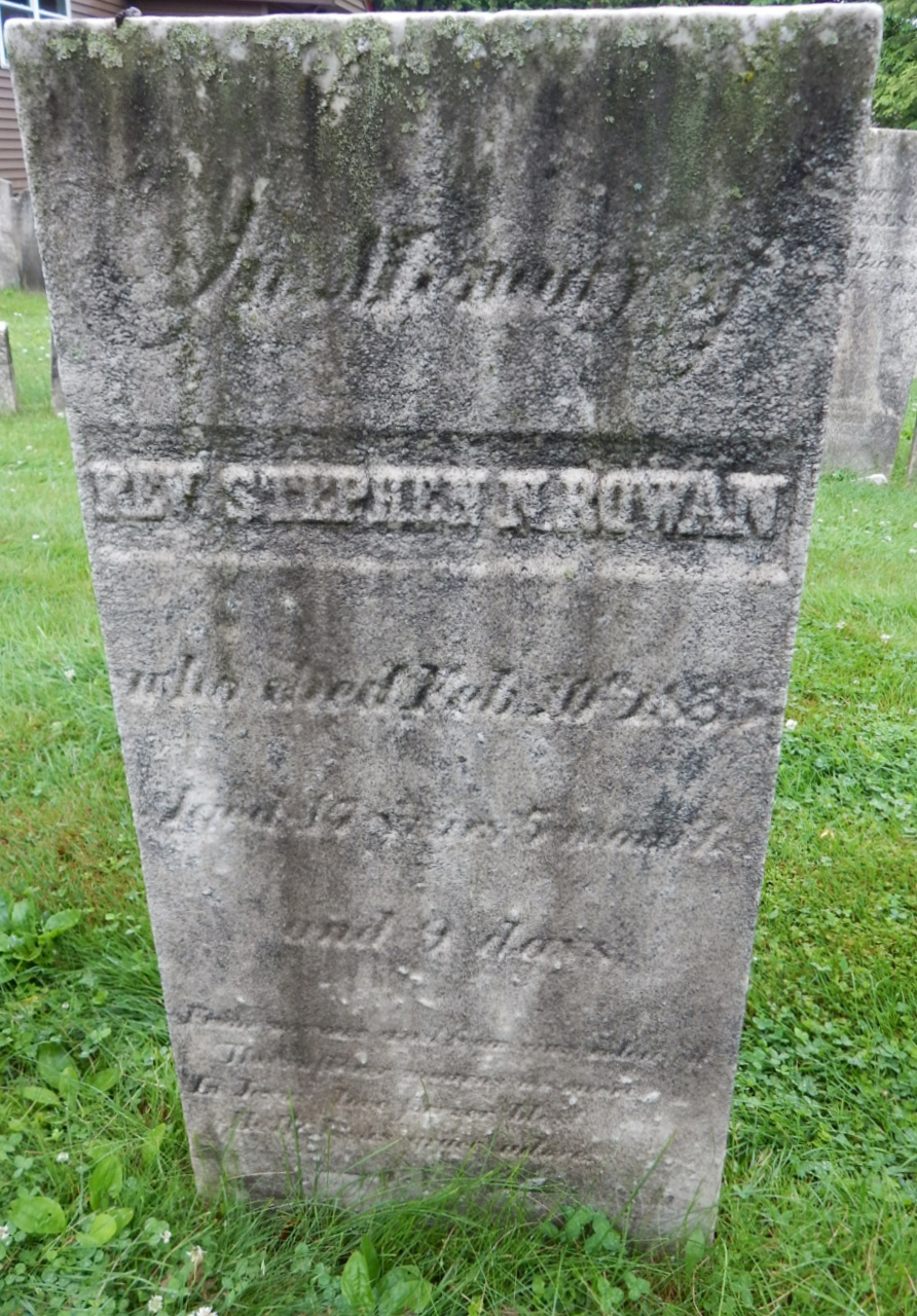 Stephen N. Rowan is buried at First Presbyterian Church Cemetery, Schenectady, New York. Photograph used with the written permission of Jeni (#47733487) at FindaGrave.