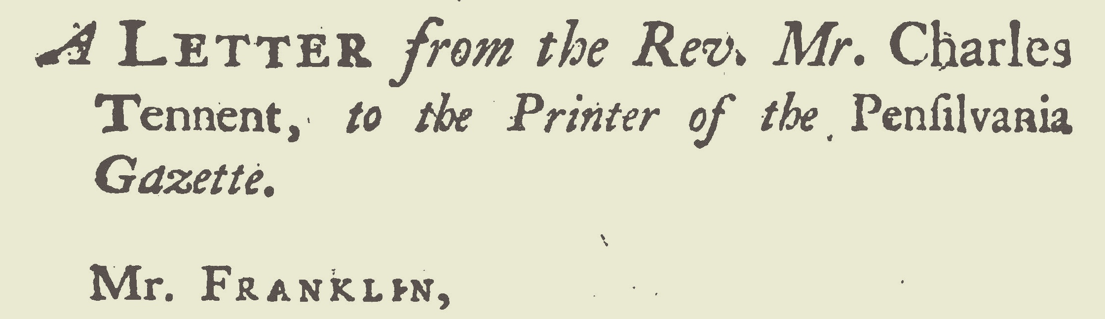 Tennent, Charles, Letter to Benjamin Franklin Title Page.jpg