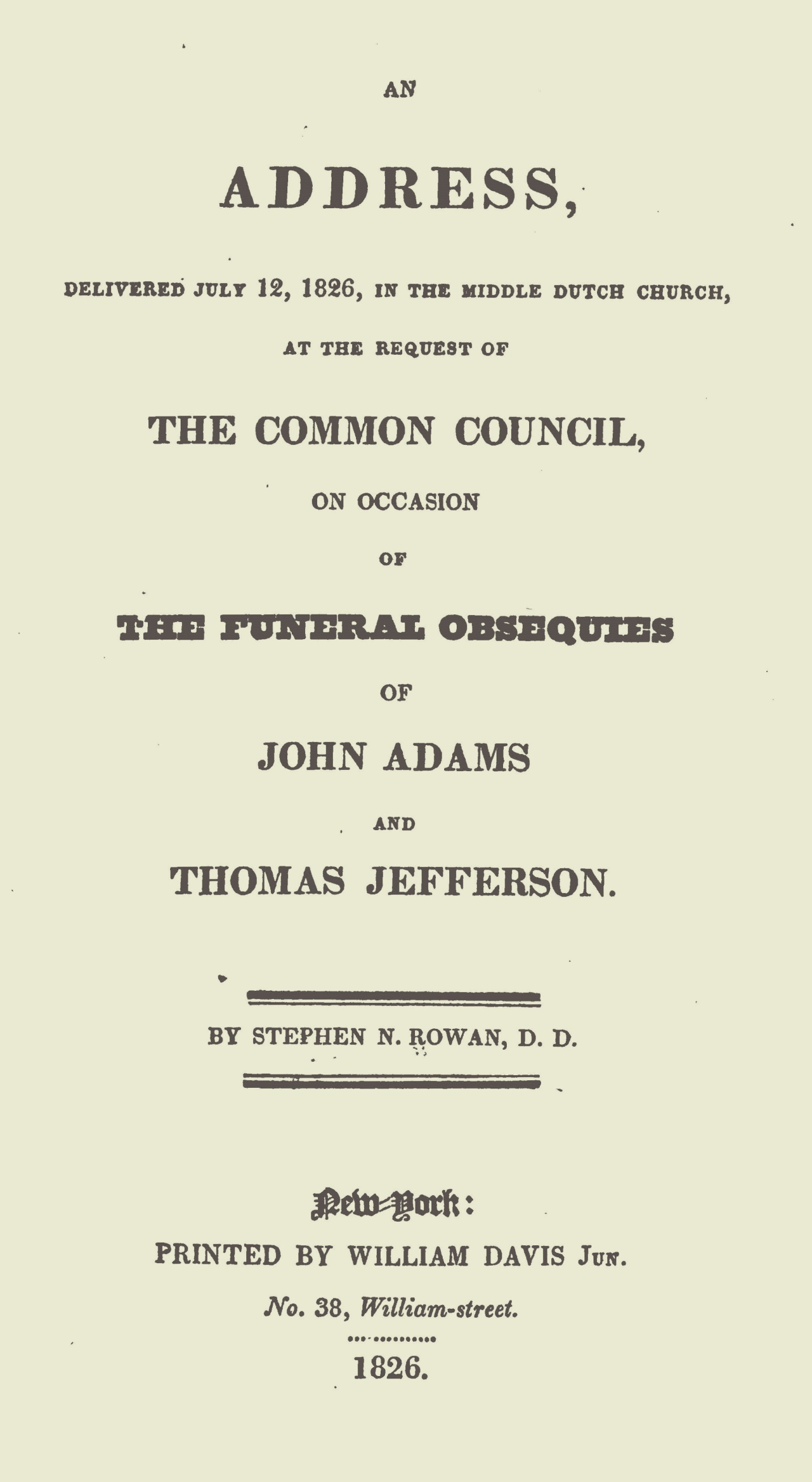 Rowan, Stephen N., An Address Delivered July 12, 1826 Title Page.jpg