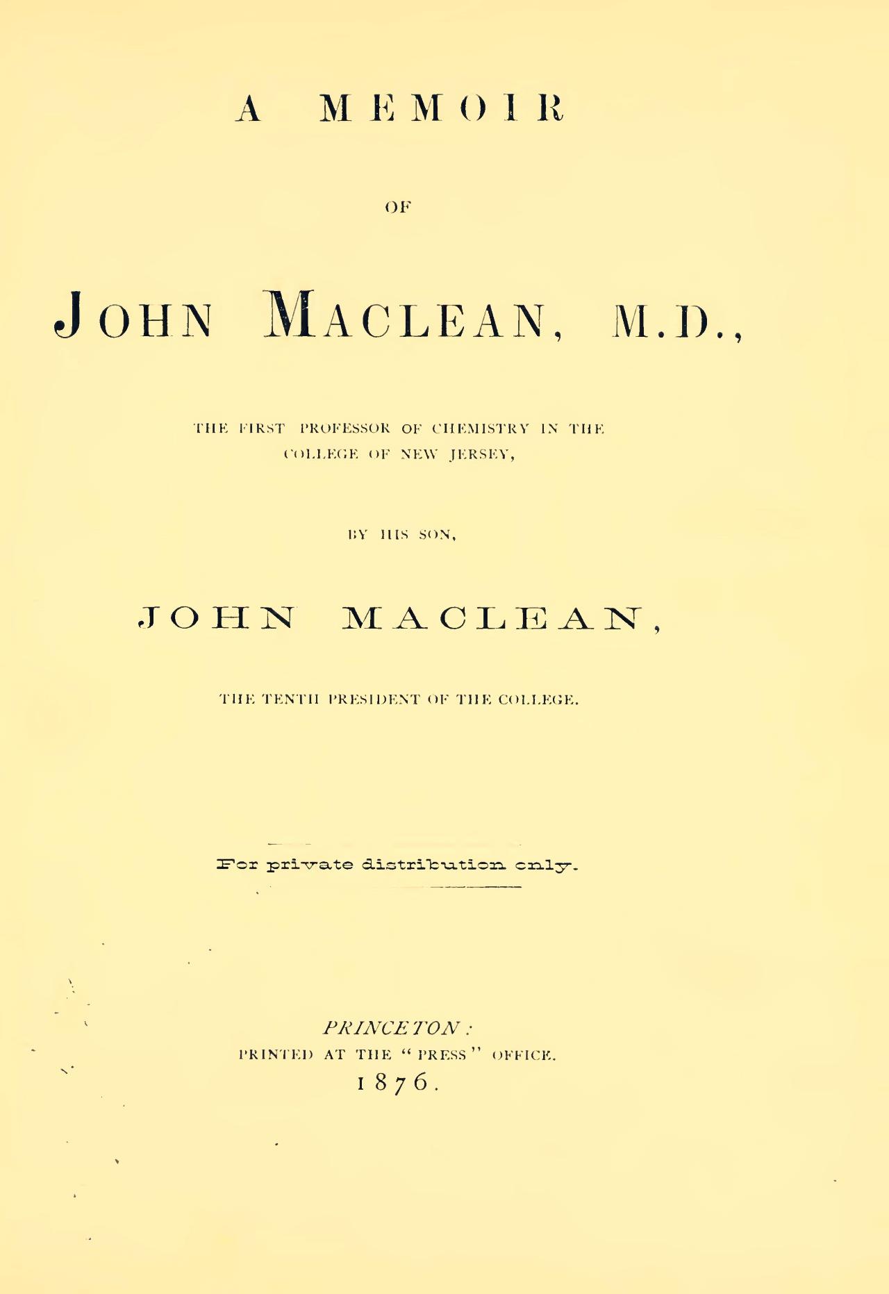 Maclean, John, Jr., A Memoir of John Maclean, M.D. Title Page.jpg