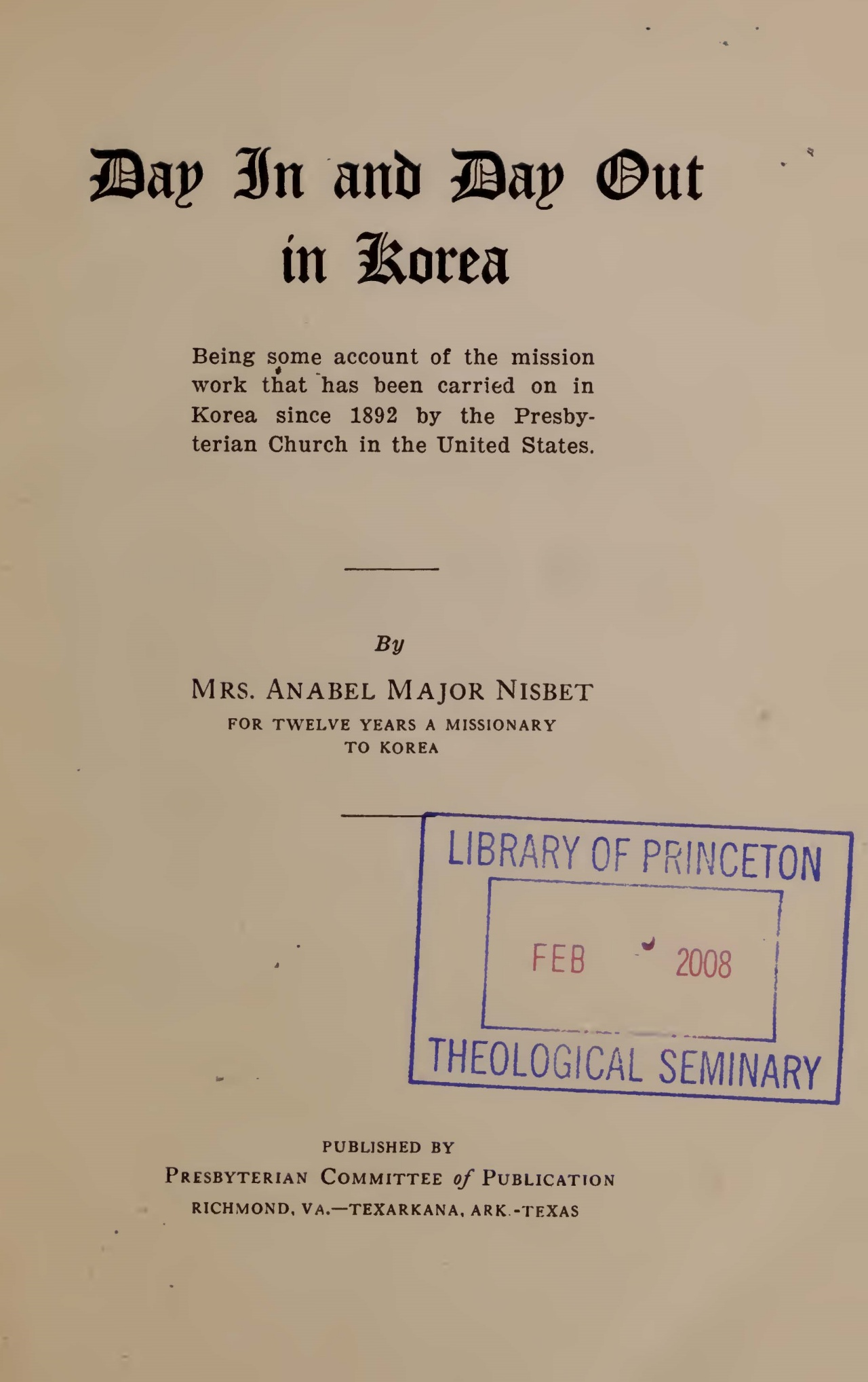 Nisbet, Anabel Major, Day In and Day Out in Korea Title Page.jpg