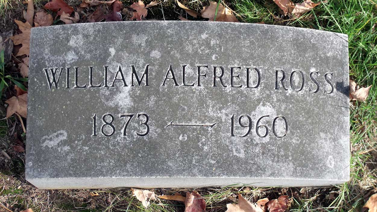 William Alfred Ross is buried at Hollywood Cemetery, Richmond, Virginia.