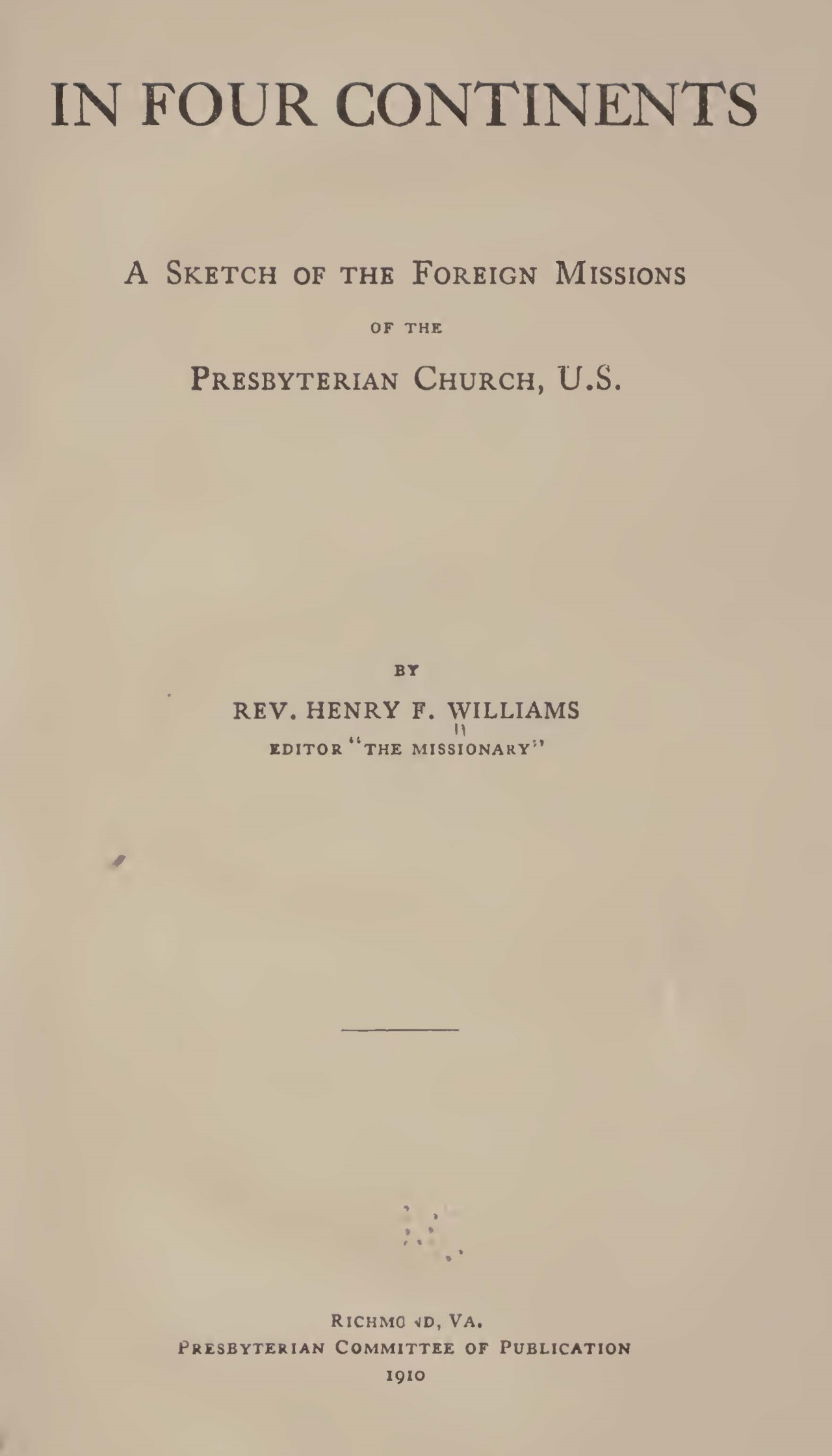 Williams, Henry Francis, In Four Continents Title Page.jpg
