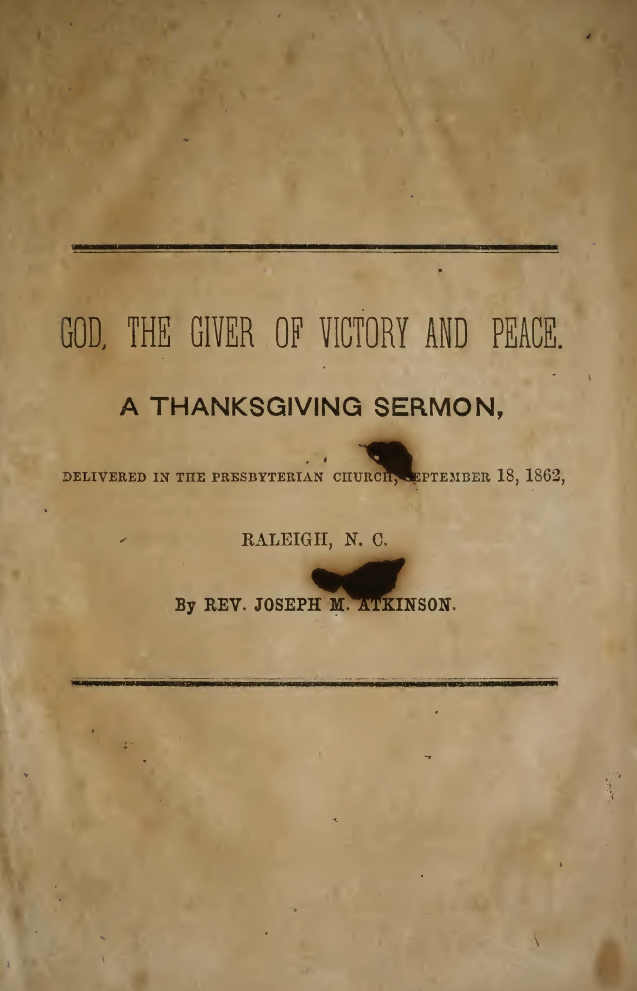 Atkinson, Joseph Mayo, God, the Giver of Victory and Peace Title Page.jpg