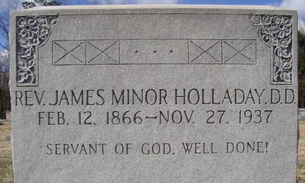 James Minor Holaday is buried at Sion Presbyterian Cemetery, Winnsboro, South Carolina.