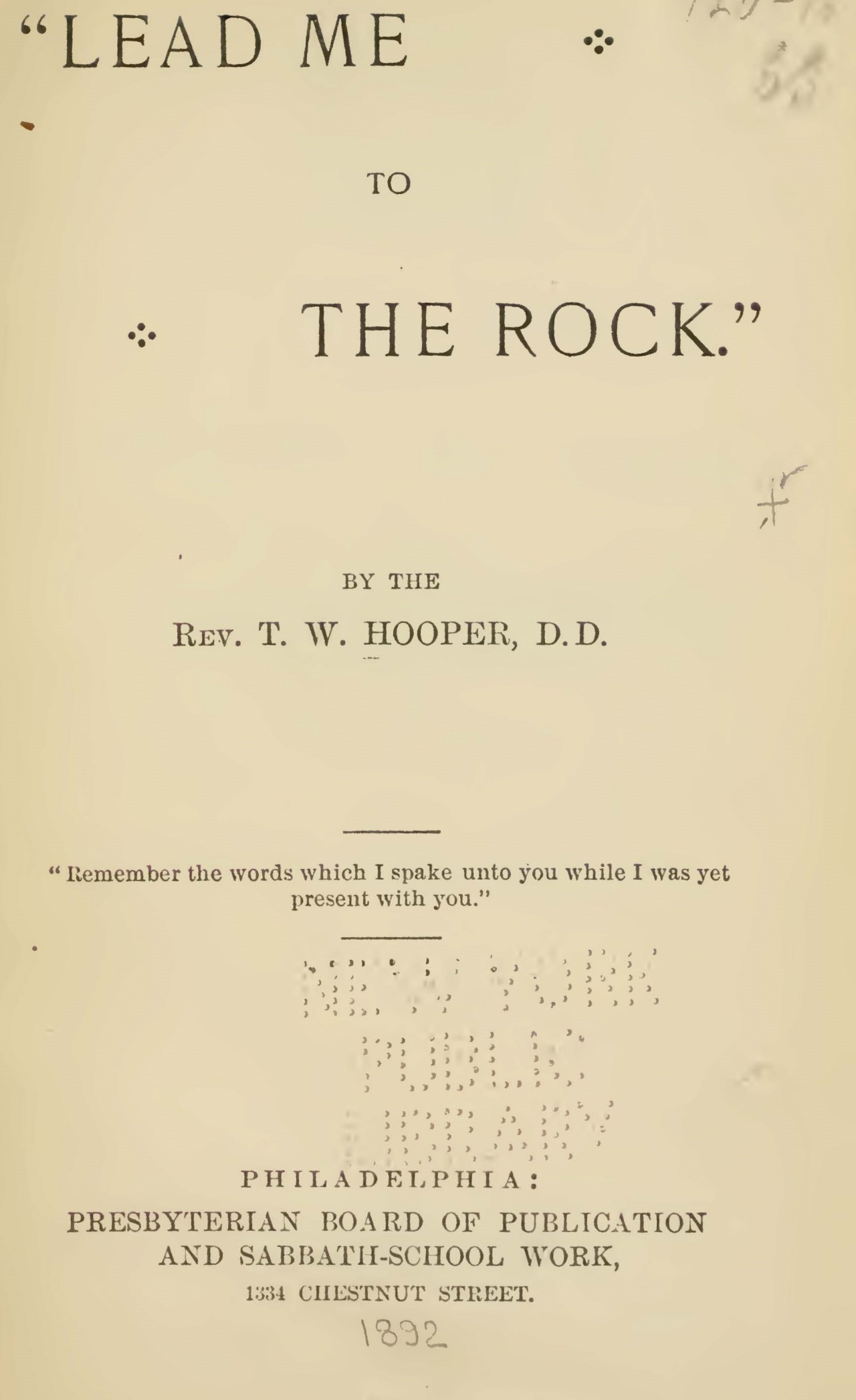 Hooper, Thomas Williamson, Lead Me to the Rock Title Page.jpg