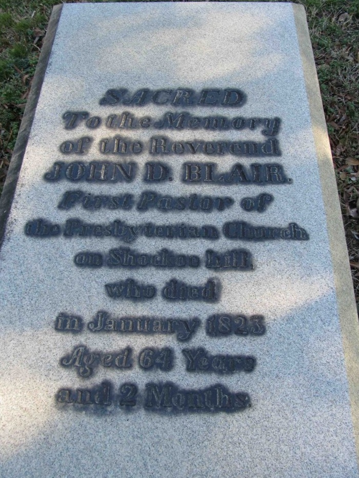 John Durburrow Blair is buried at Shockoe Hill Cemetery, Richmond, Virginia.