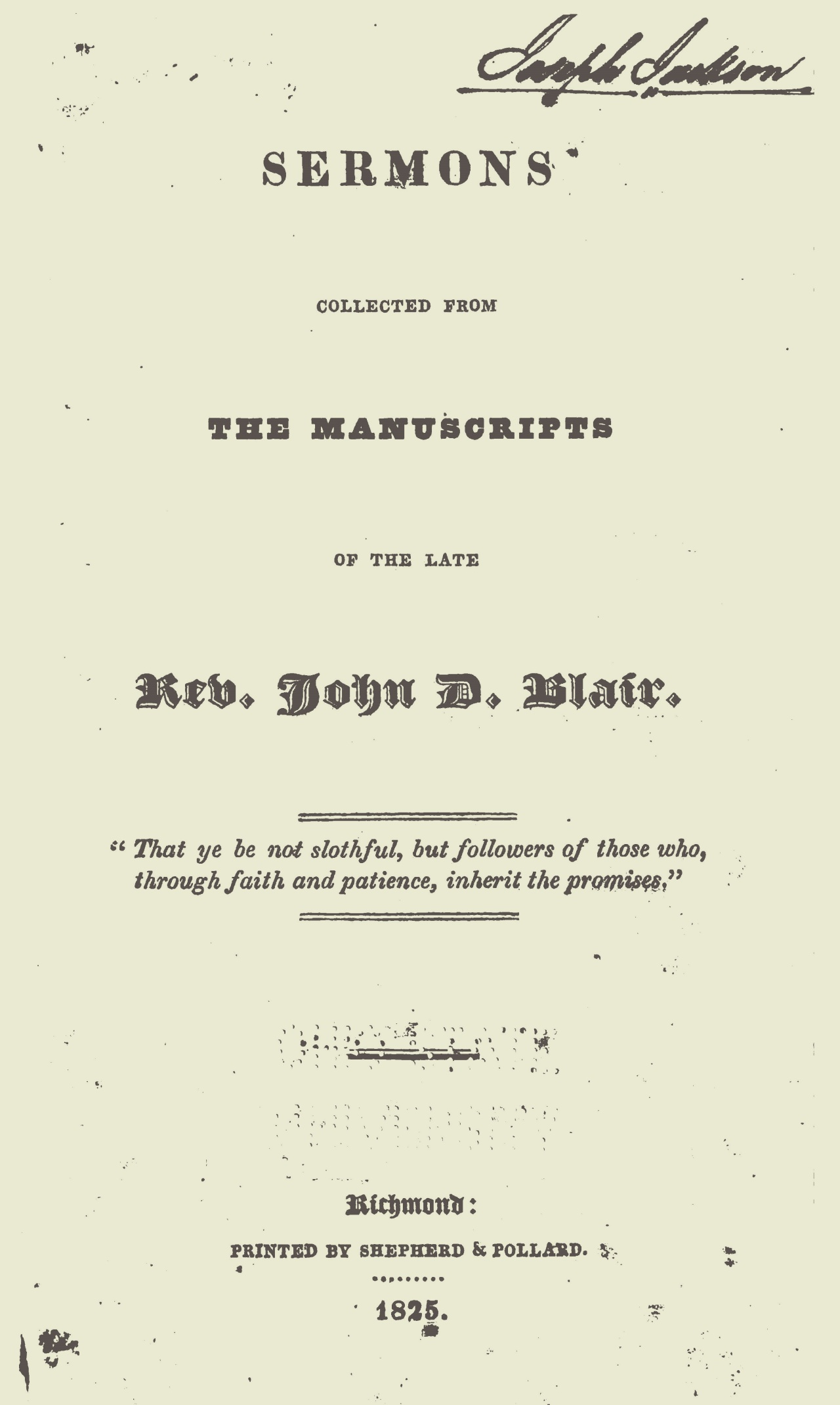 Blair, John Durburrow, Sermons Title Page.jpg