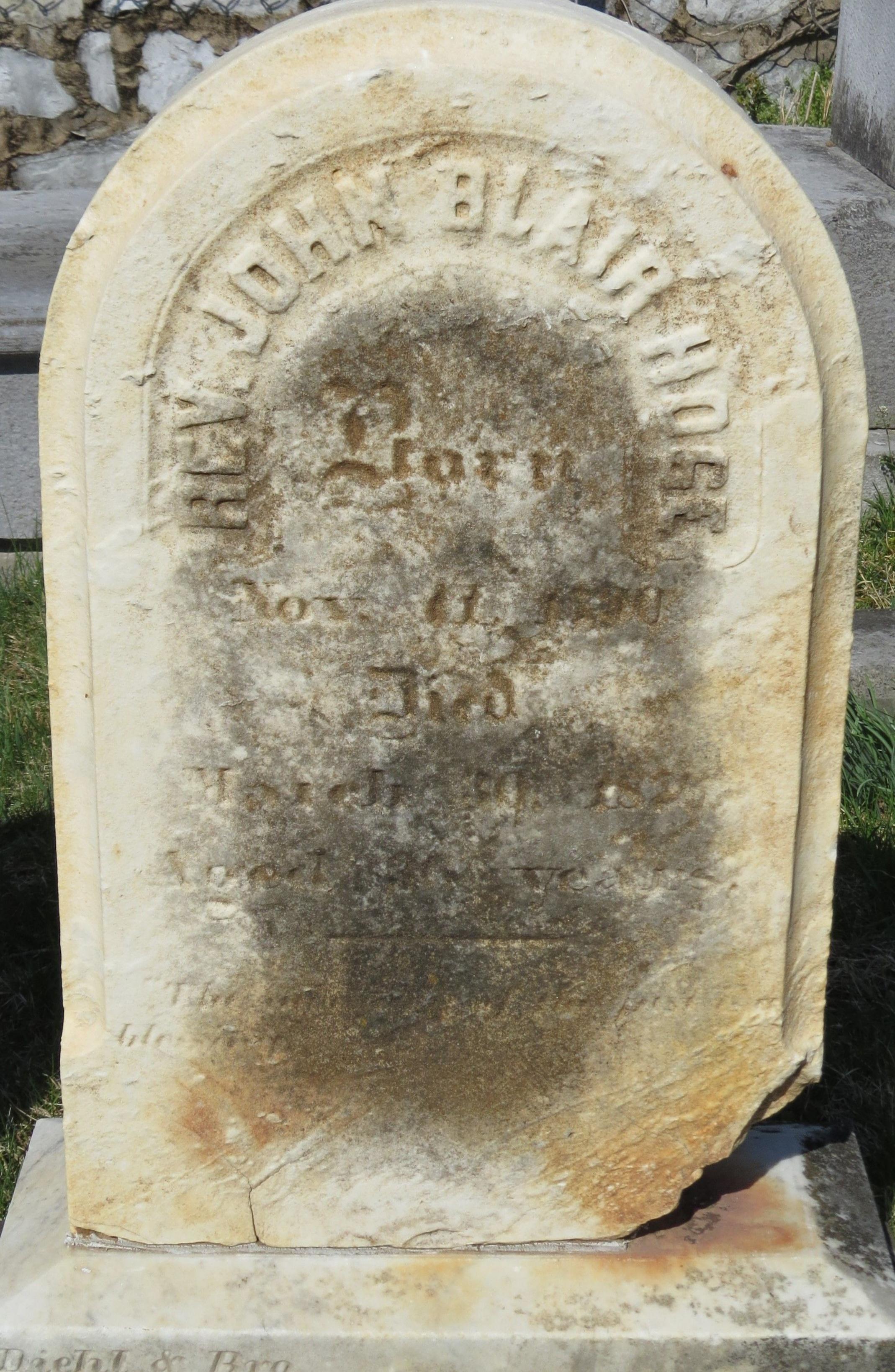 John Blair Hoge, Sr. is buried at Norbourne Parish Cemetery, Martinsburg, West Virginia.