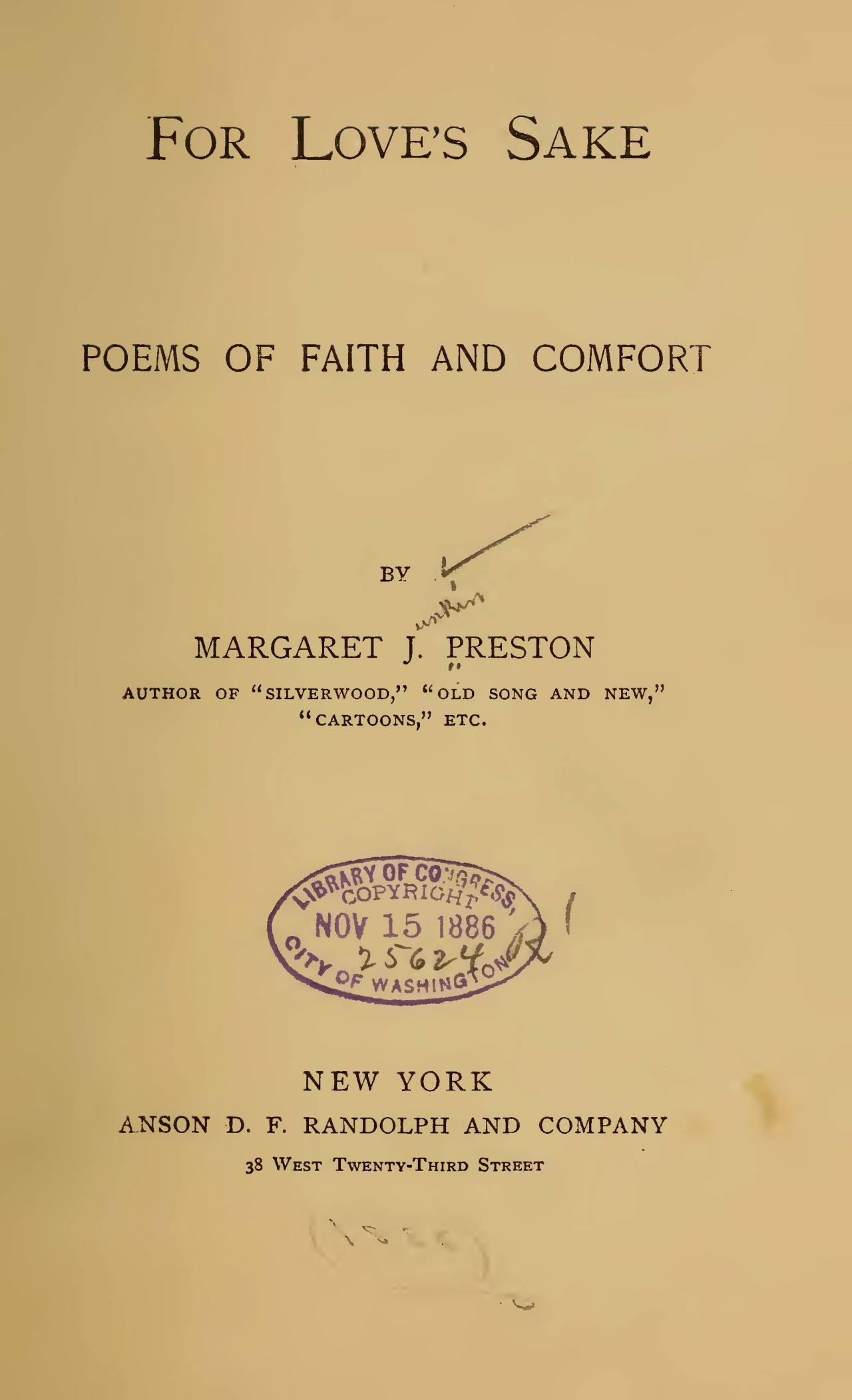 Preston, Margaret Junkin, For Love's Sake Title Page.jpg