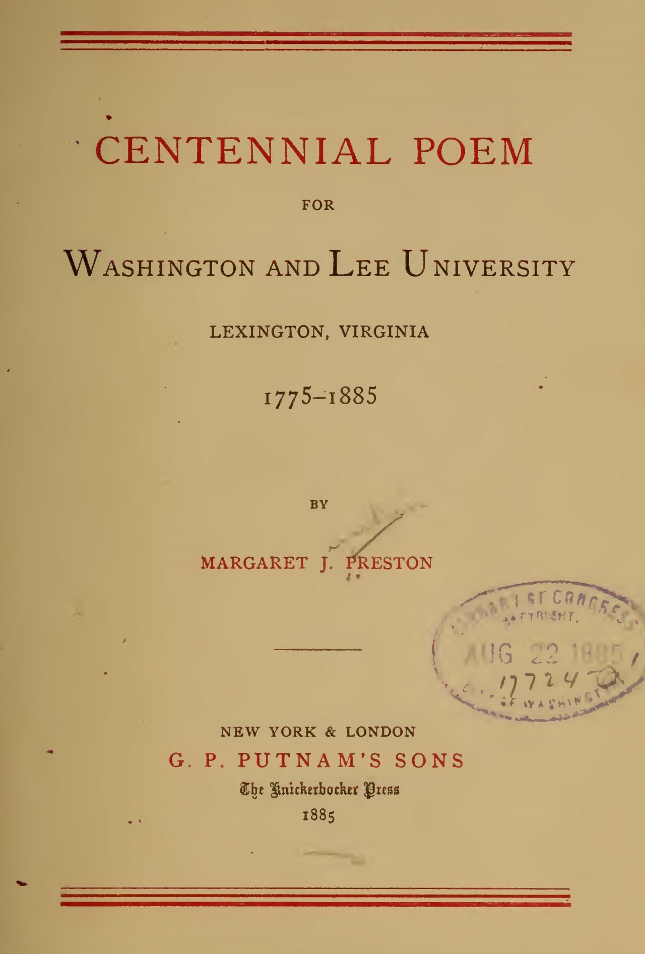 Preston, Margaret Junkin, Centennial Poem for Washington and Lee University Title Page.jpg