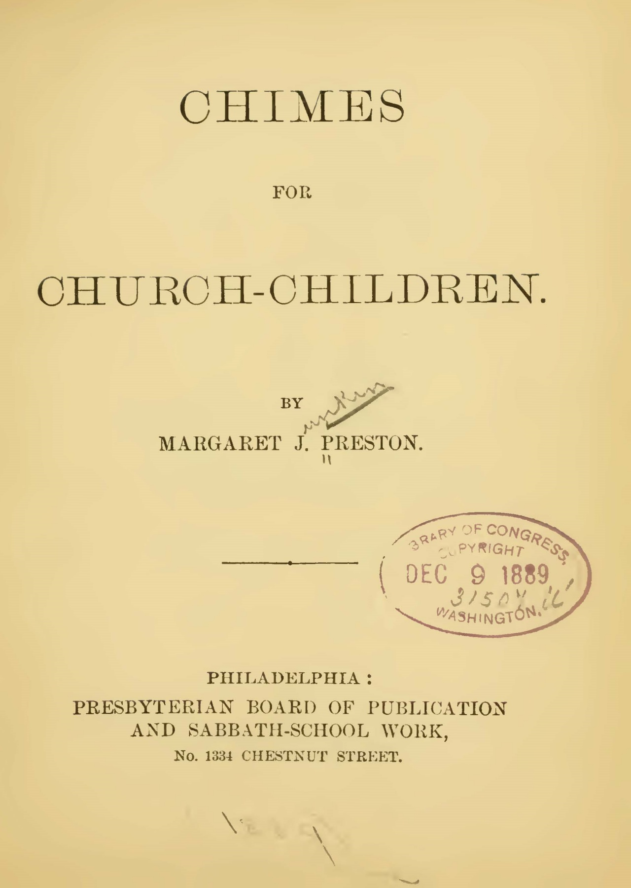 Preston, Margaret Junkin, Chimes for Church-Children Title Page.jpg