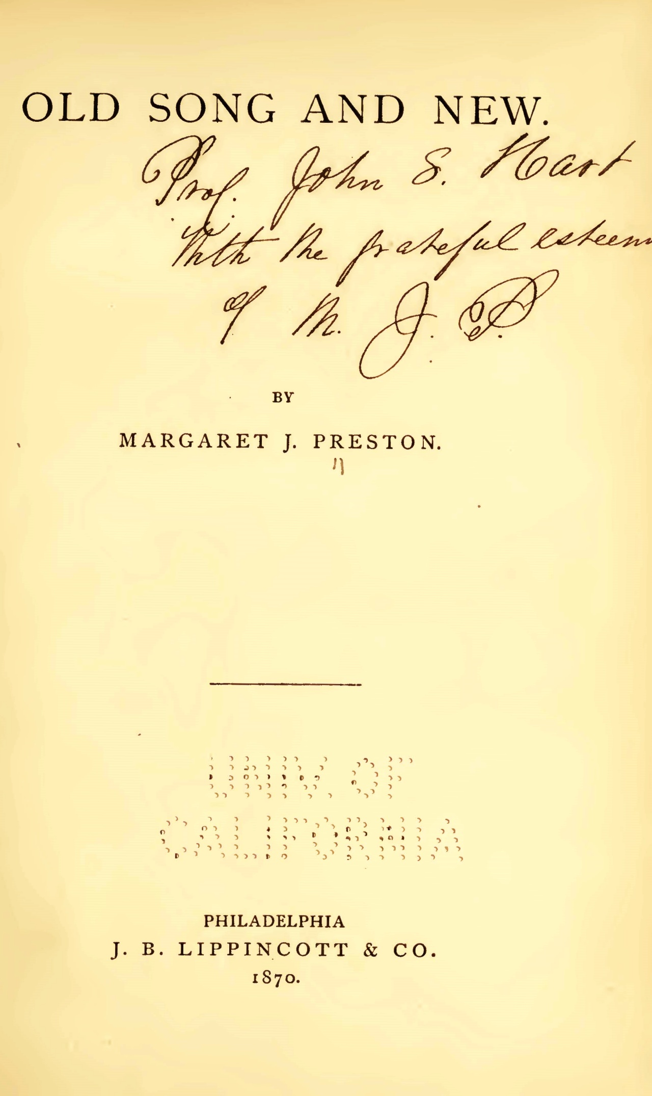 Preston, Margaret Junkin, Old Song and New Title Page.jpg