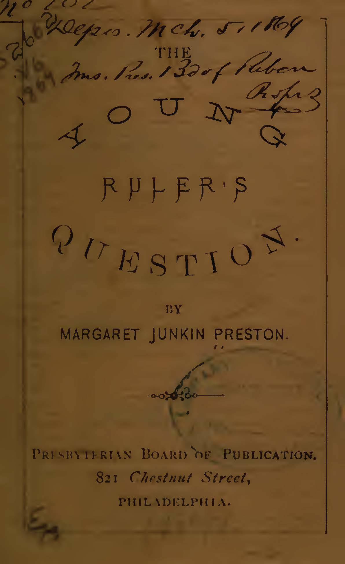 Preston, Margaret Junkin, The Young Ruler's Question Title Page.jpg